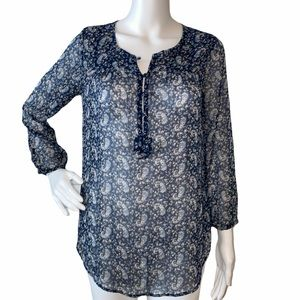 EIC Lucky Brand Sheer Navy Floral Blouse